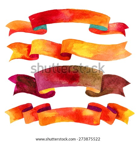 Watercolor ribbons and banners for text. Collection of Watercolor design elements, backgrounds,  ribbons . Hand drawn abstract colorful stripes. - stock photo
