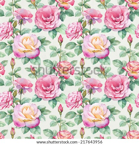 Watercolor rose flowers illustration. Seamless pattern