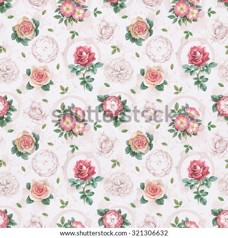 Watercolor rose flowers illustration. Seamless pattern - stock photo