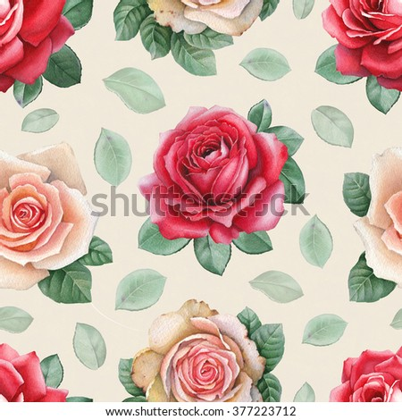 Watercolor rose flowers illustrations. Seamless pattern