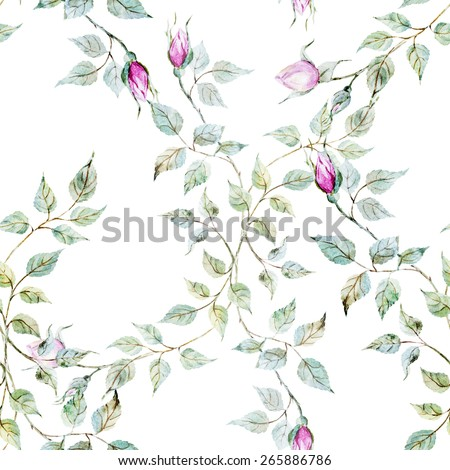 watercolor, rose, pattern, vintage, wallpaper, picture - stock photo