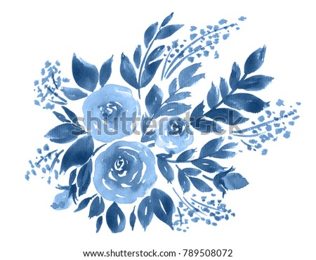 Watercolor roses bouquet in indigo blue. Hand painted floral composition