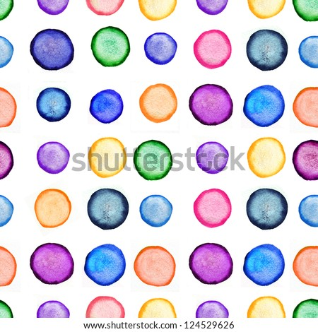 Watercolor round shapes seamless ornament. Copy that square to the side,you'll get seamlessly tiling pattern which gives the resulting image the ability to be repeated or tiled without visible seams. - stock photo