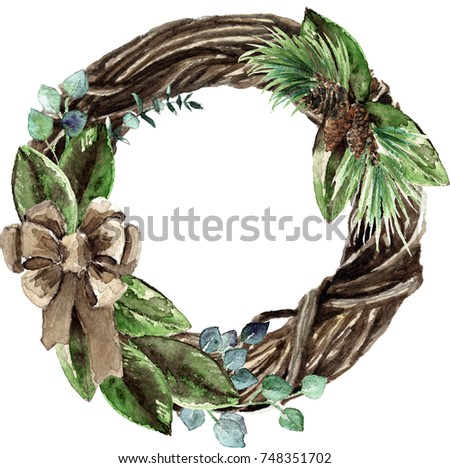 Watercolor Scandinavian Christmas Wicker Wreath. Hand drawn winter decoration. Magnolia leaves, spruce, twigs, eucalyptus and pinecones bouquet, decorated with a canvas bow. Round winter floral frame.