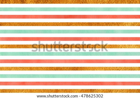Watercolor seafoam blue, salmon pink and acryl golden striped background.