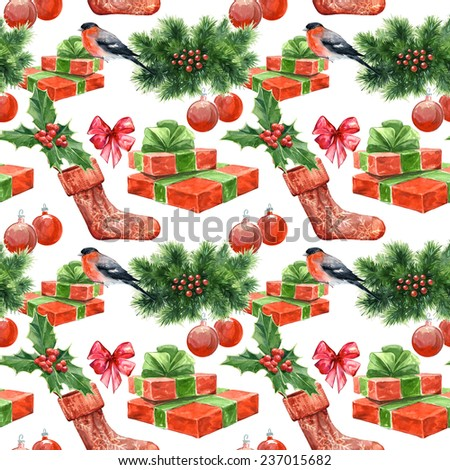 Watercolor seamless background set with Christmas decoration elements