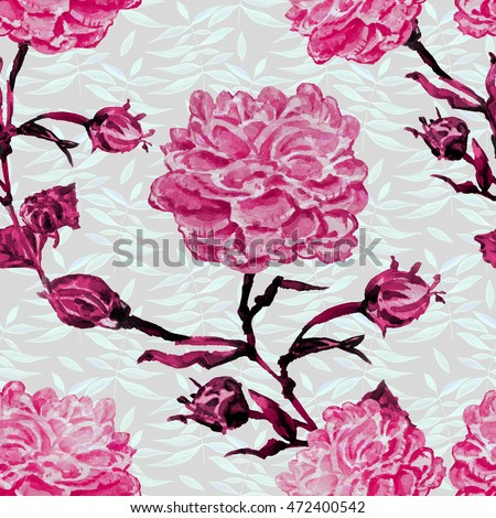 Watercolor seamless bright background from picturesque tropical flowers Picturesque surface for exotic fabric Summer hawaiian seamless pattern. Flower background with roses