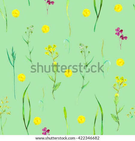 Watercolor seamless floral pattern with wild herbs and flowers on green. Hand painting botanical illustration for print, wrapping, fabric, background and other seamless natural design. - stock photo