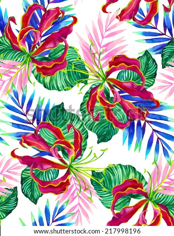 watercolor seamless flower exotic pattern on white background. lily and palm leaves, layered. - stock photo