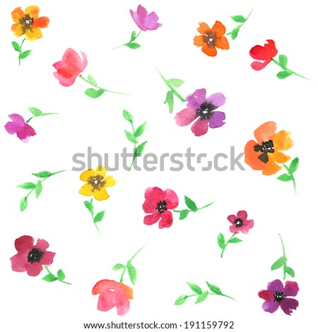 Watercolor seamless flower pattern. - stock photo