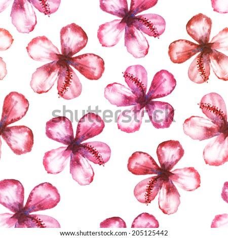 Watercolor seamless ornament with mulberry flower.  - stock photo