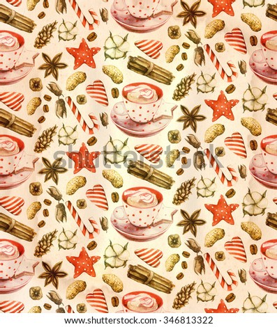 Watercolor seamless pattern candy, coffee cup, star, cinnamon, heart, marshmallows. Vintage pattern