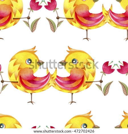 watercolor seamless pattern consisting of a yellow bird with flowers in paws