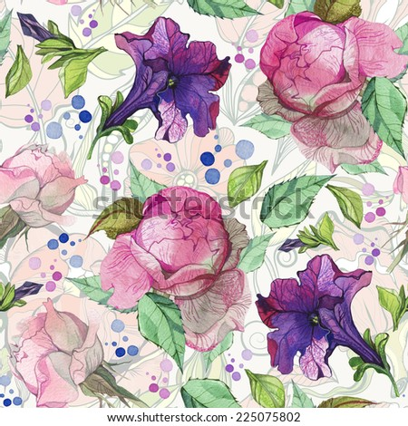 Watercolor seamless pattern of beautiful peonies in gentle color. Amazing summery background. - stock photo