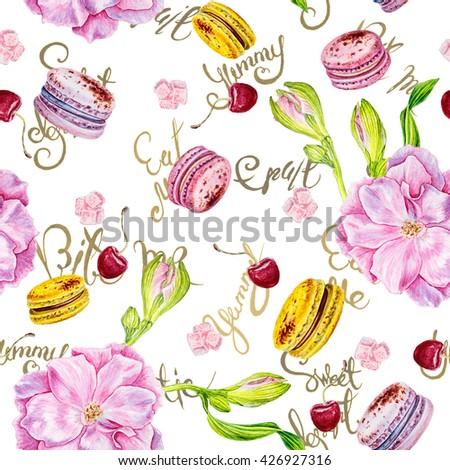 watercolor seamless pattern of rosehip flowers , macaroon. words about the food . fruits and sweets - stock photo