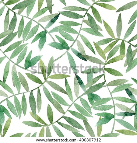 Watercolor seamless pattern on leaves. Can be used for wallpaper, pattern fills, web page background,surface textures, fabric. Seamless leaf pattern.Leaf background. leaf pattern.  - stock photo