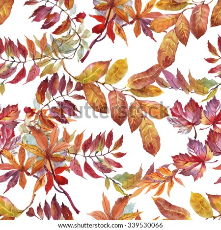 Watercolor seamless pattern on white background with autumn leaves - stock photo