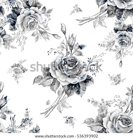 Watercolor Seamless Pattern Roses In Bud M Beautiful For Decoration And Design Trendy