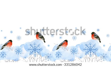Watercolor seamless pattern. Winter bushes in the snow with bullfinches and snowflakes. Horizontal watercolor border. Can be used for Christmas design, packaging, printing on fabric