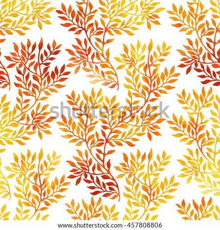 Watercolor seamless pattern with autumn branches and leaves on white background. Watercolour floral hand drawn ornament in yellow and red colors.  - stock photo