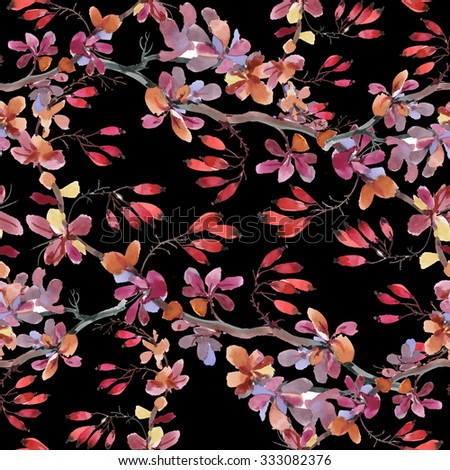 Watercolor seamless pattern with autumn dogwood on black background - stock photo