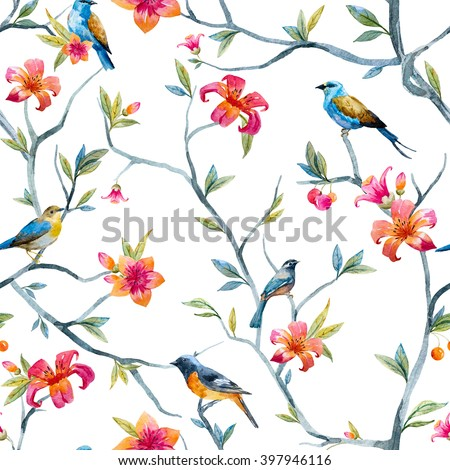 watercolor seamless pattern with birds and flowers, tree, spring wallpaper - stock photo