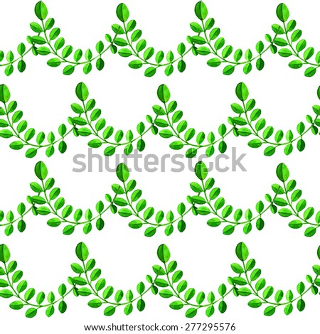 Watercolor seamless pattern with branches, green leaves isolated on white background. Hand painting on paper - stock photo