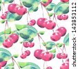 Watercolor seamless pattern with cherry. Raster illustration. - stock vector