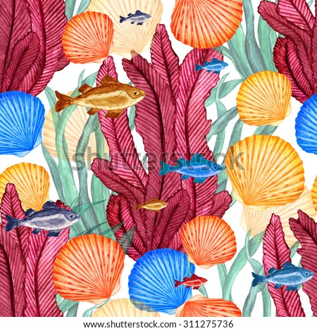 Watercolor Seamless Pattern Colorful Fishes Scallop Stock ...