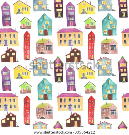Watercolor seamless pattern with houses. Countryside background.