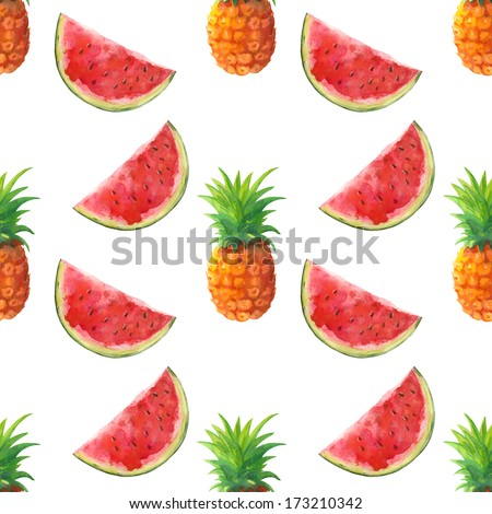 Watercolor seamless pattern with pineapples and watermelons - illustration - stock photo