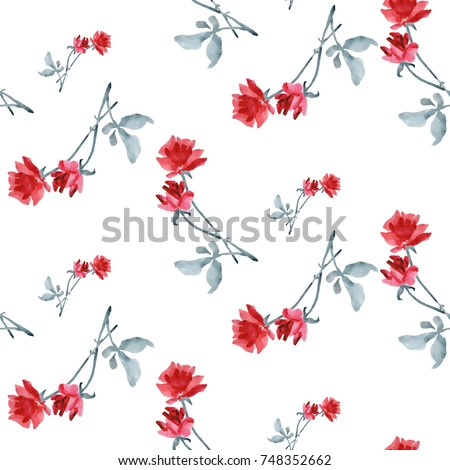 Watercolor seamless pattern with red roses and grey leaves on white background