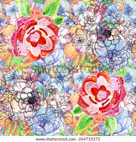 Watercolor seamless pattern with roses and flowers. Background for web pages, wedding invitations, save the date cards. - stock photo