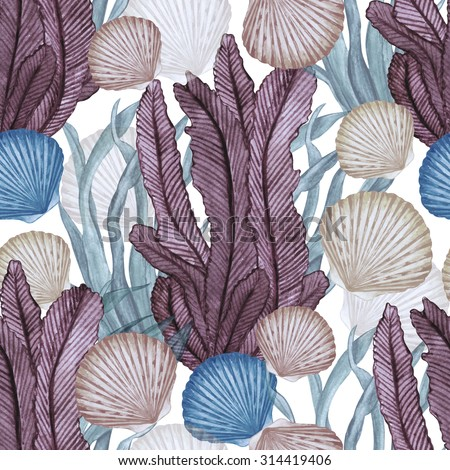 Watercolor seamless pattern with scallop sea shells, seaweed. Hand painting on paper  - stock photo