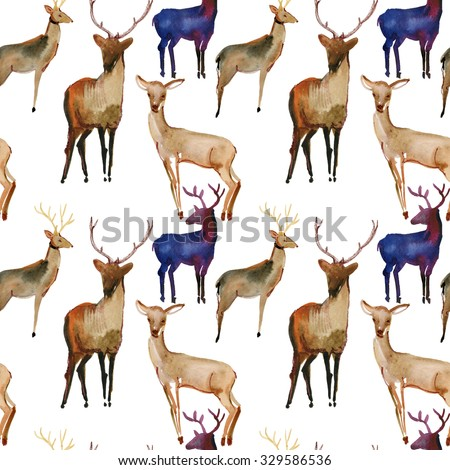 Watercolor seamless pattern with Snow white deer, Vintage Merry Christmas and Happy New Year illustration. - stock photo
