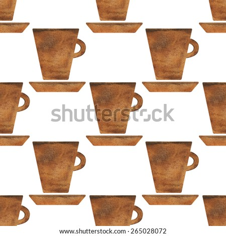 Watercolor seamless pattern with tea cup, coffee cup, saucer on white background.  Hand painting on paper - stock photo