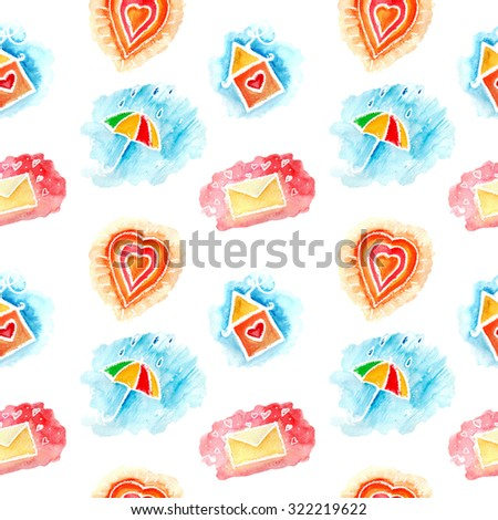watercolor seamless pattern with umbrella, house, heart, letter. It can be used for wallpaper, fabric design, textile design, cover, wrapping paper, banner, card, pattern fills, web page backgrounds - stock photo