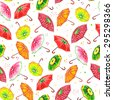 Watercolor seamless pattern with umbrellas stylized as kiwi, raspberry, strawberry, apple, orange, watermelon. Endless hand drawing illustration. The template for textile, fabric, wallpapers. - stock vector