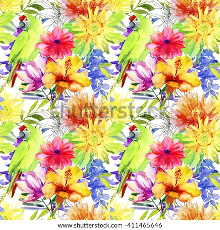 Watercolor  seamless stylish fashion floral pattern. Tropical birds and flowers. - stock photo