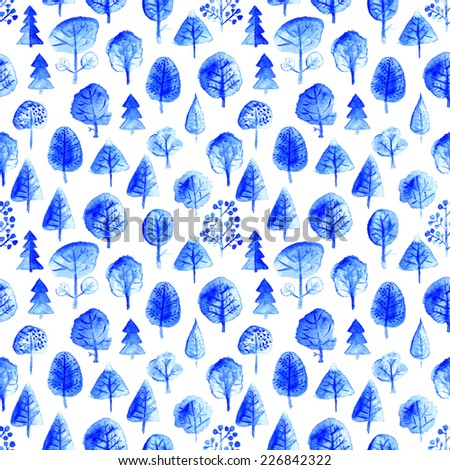 Watercolor seamless trees pattern. Endless surface background. - stock photo