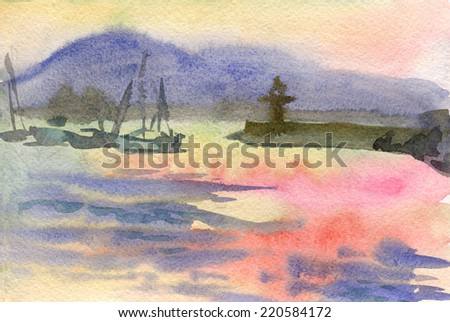 Watercolor seascape with sunset and sailboats - stock photo