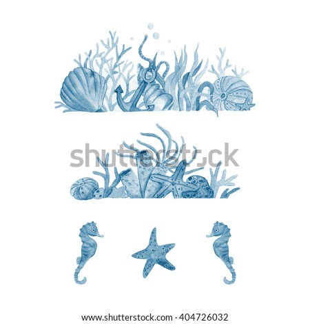 Watercolor set of illustrations with seabed and marine inhabitants: shells,corals, anchor, starfish, seaweed. Watercolor illustration isolated on white background. Handpainted nautical collection. - stock photo