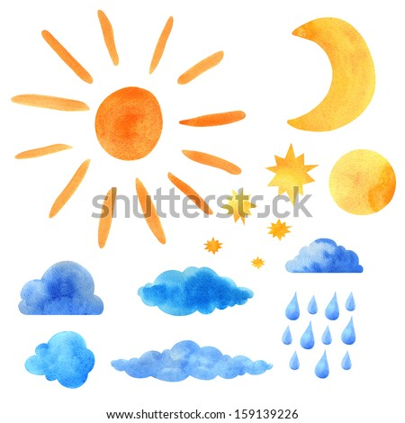 Watercolor set sun, clouds, moon, half moon, stars, raindrops isolated - stock photo
