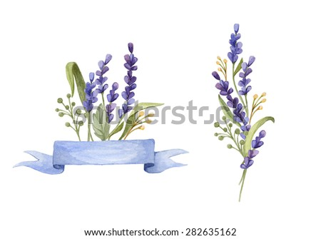Watercolor set with floral posies. Hand drawn Lavender with ribbon - stock photo