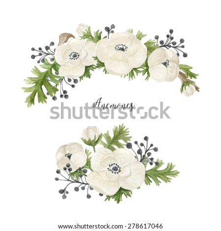 Watercolor set with floral wreath and posy. Hand painted illustration with bouquet of anemones. Floral composition isolated on white background - stock photo