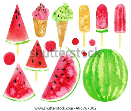 Watercolor set with watermelon slices, ice-creams. Raster hand drawn elements. - stock photo