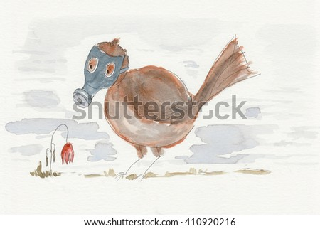 Watercolor showing a bird in a gas mask looking at a flower dying from pollution and smog in the air. - stock photo