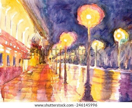 Watercolor sketch, cityscape. St. Petersburg, catedral St. Isaac's a night. Hand painting  illustration. - stock photo