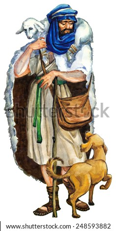 "Watercolor sketch of series ""Characters of Palestine"". Jewry historic bible figure  isolated on white background. Dressed in robe, cape, turban and boots herdsman with bag, stick and goat on shoulders - stock photo"