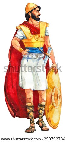 "Watercolor sketch of series ""Characters of Palestine"". Jewry historic bible figure isolated on white background. Proud combat in red cape, tunic, golden helm and armour, armed copper sheath and board"